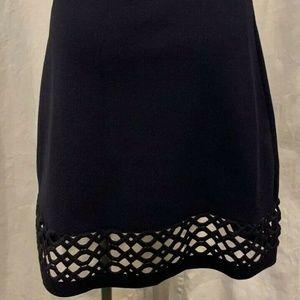 Ann Taylor Navy A-Line Skirt with Cut-out Hem